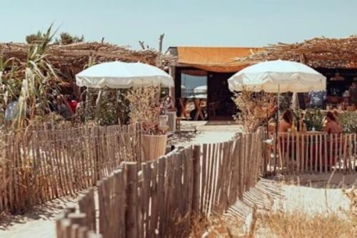Cabane Bambou beach club restaurant in St Tropez