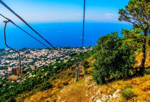 The chairlift from Mount Solaro in Capri with a panoramic view of the Mediterranean sea