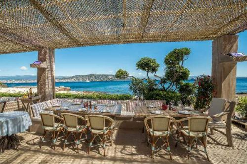 La Guérite beach club restaurant in Cannes on the island of Lérins Sainte-Marguerite
