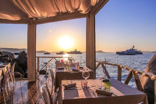 Phi beach club restaurant in Sardinia