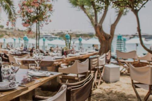 Nammos beach club and restaurant in Mykonos in Greece
