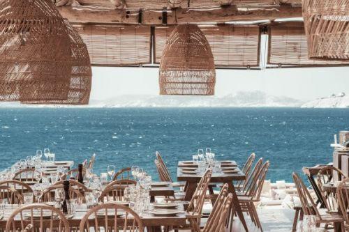 Scorpios beach club and restaurant in Mykonos in the Mediterranean