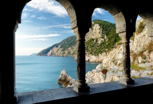 The arches of the Church of San Pietro in the village of Portovenere