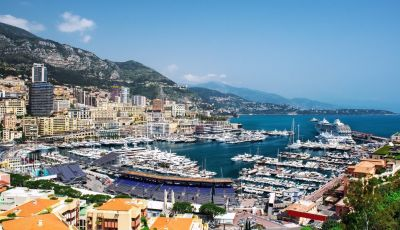 View of Port Hercule with charter yachts during the Monaco Grand Prix