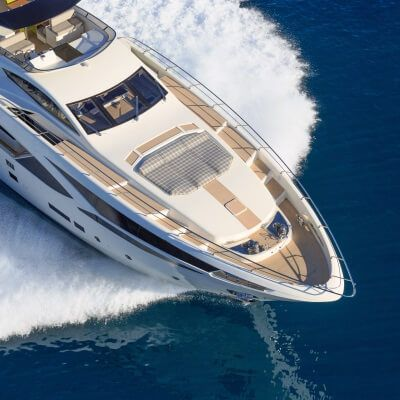 Aerial view of a luxury charter yacht