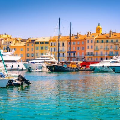 The port of St Tropez on the French Riviera with moored charter yachts