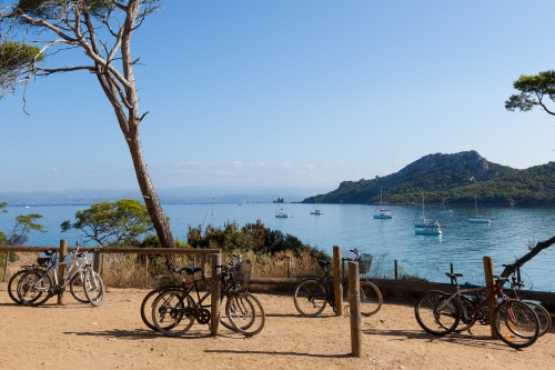Bikes on the island of Porquerolles in the south of France