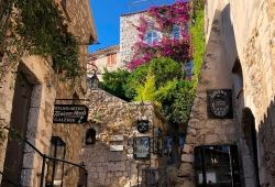 A narrow street in the hilltop village of Eze with its pretty stone houses
